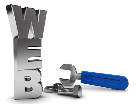 3d illustration of web sign with wrench and nuts illustration