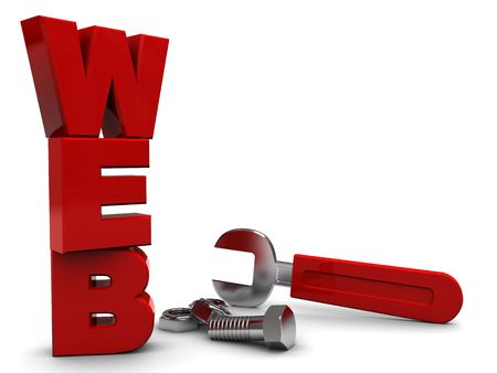 3d illustration of text web with wrench and nuts illustration