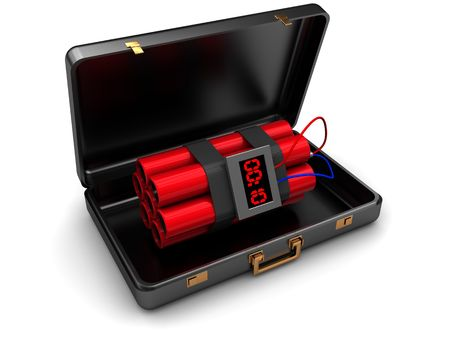 bomb: 3d illustration of suitcase with dynamite inside, over white background Stock Photo