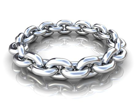 metal working: 3d illustration of metal chain circle over white background