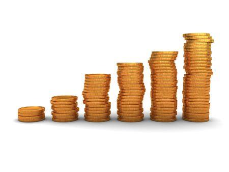 3d illustration of raising coins stack over white background Stock Illustration - 6401837