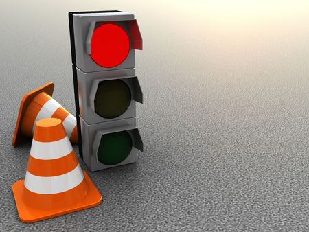 3d illustration of road cones and traffic light over asphalt background illustration