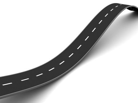 bends: 3d illustration of curved asphalt road, over white background Stock Photo