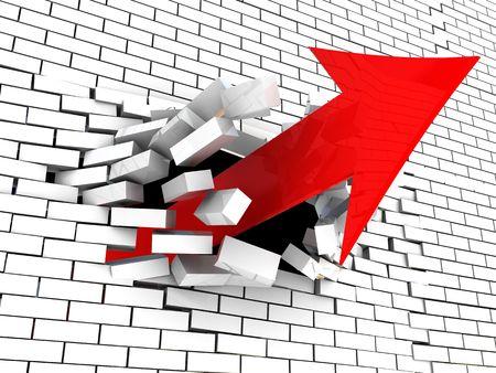 break free: 3d illustration of arrow breaking wall Stock Photo
