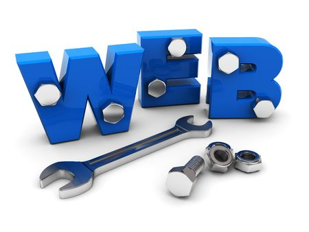 3d illustration of text 'web' with wrench and nuts Stock Illustration - 6401841