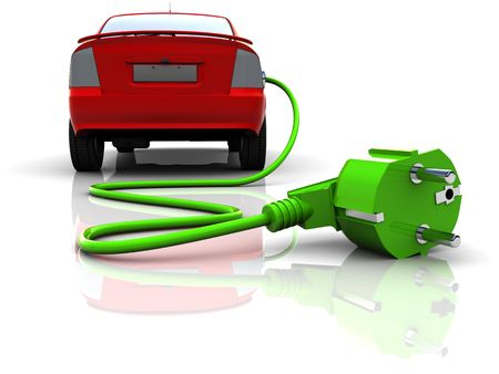 electric outlet: 3d illustration of electric car, over white background