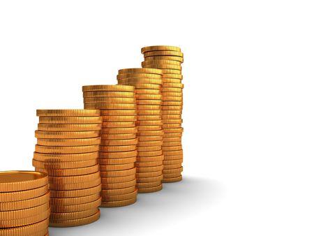 3d illustration of golden coins stacks over white background Stock Illustration - 6449137