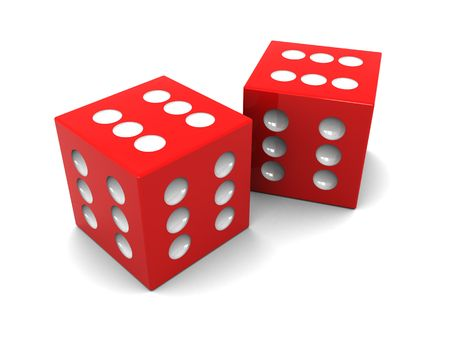 surpass: abstract 3d illustration of two always winning dices Stock Photo
