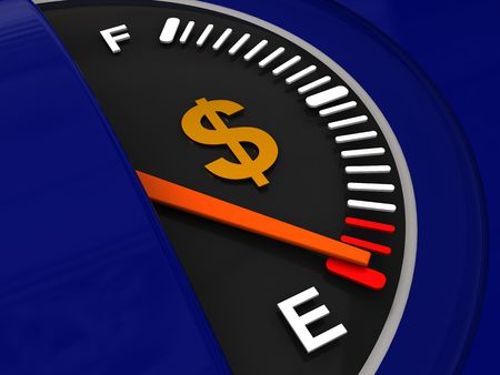 abstract 3d illustration of fuel meter with dollar sign illustration