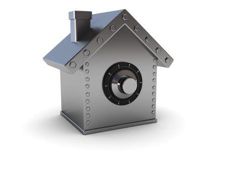 caja fuerte: Ilustraci�n 3d abstracto de casa s�mbolo seguro sobre fondo blanco Foto de archivo