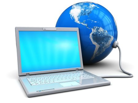 3d illustration of laptop connected to earth globe, over white background illustration
