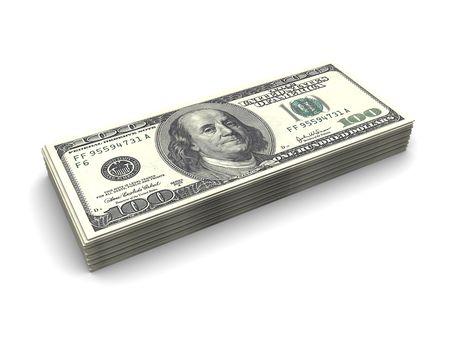 3d illustration of dollars stack over white background Stock Illustration - 6449144