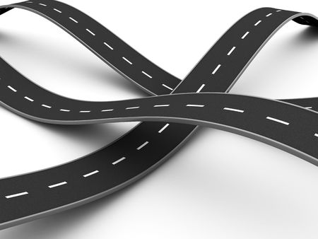 open road: abstract 3d illustration of road knot over white background Stock Photo