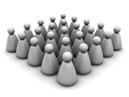 unify: 3d illustration of crowd concept, over white background