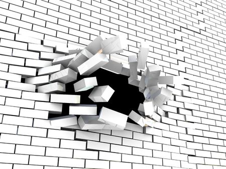 hole in wall: abstract 3d illustration of brick wall breaking