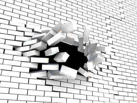 prison break: abstract 3d illustration of brick wall breaking