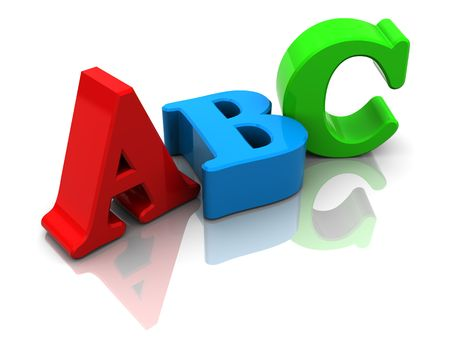 pre: 3d illustration of colorful letters abc, over white background