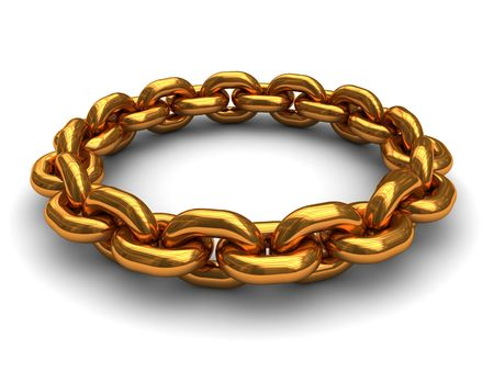 interlink: abstract 3d illustration of golden chain ring, over white background