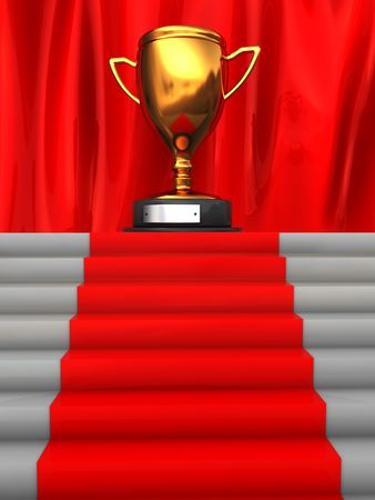 3d illustration of stairway to golden trophy cup illustration