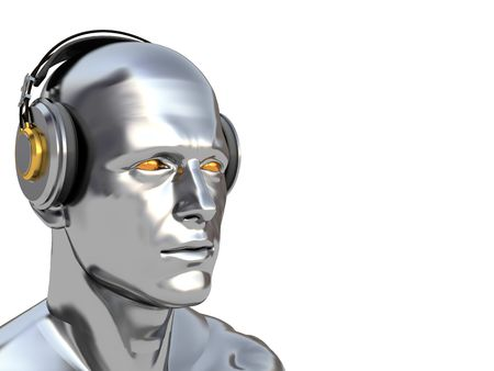 abstract 3d illustration of man head with headphones, over white background