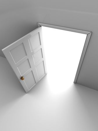 abstract 3d illustration of opened door to light Stock Illustration - 6503864