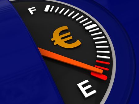 3d illustration of fuel meter with euro sign illustration