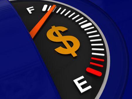 3d illustration of fuel meter with dollar sign illustration