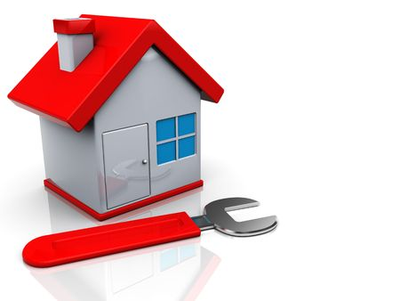 3d illustration of house and wrench, home repair concept Stock Illustration - 6504138
