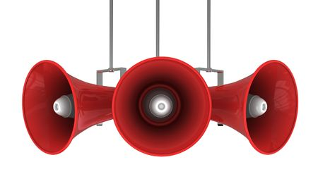 3d illustration of megaphone broadcasting system isolated over white