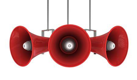 hombre megafono: Ilustraci�n 3D de sistema de radiodifusi�n de meg�fono aislado sobre blanco