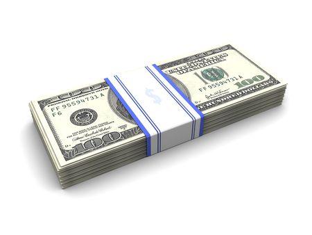 3d illustration of money stack over white background Stock Illustration - 6503629
