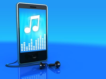3d illustration of mobile phone playing music, over blue background illustration