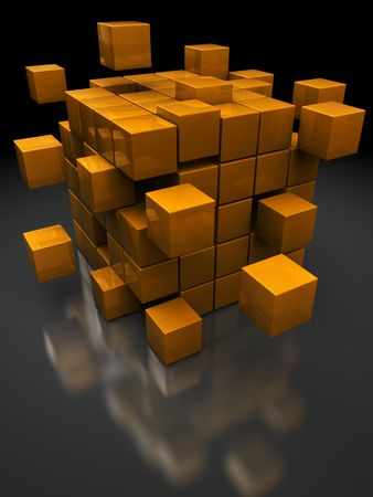 broken strategy: abstract 3d illustration of boxes structure construction