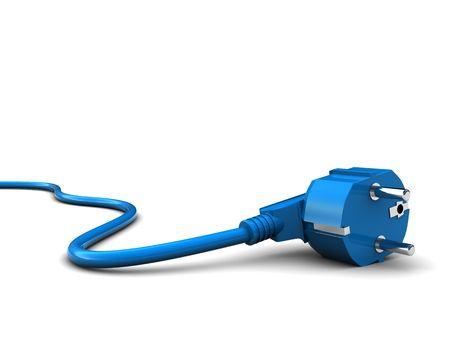 amperage: 3d illustration of power cord over white background