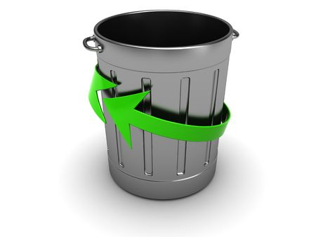 3d illustration of steel trash can with recycling symbol illustration