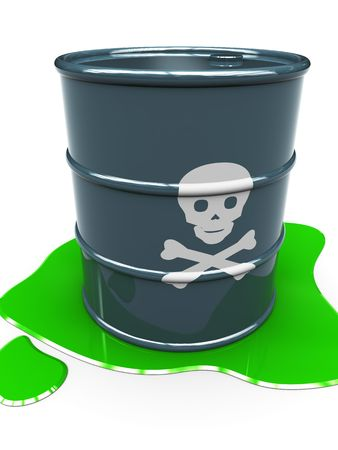 barrel radioactive waste: 3d illustration of barrel with scull symbol over white background Stock Photo