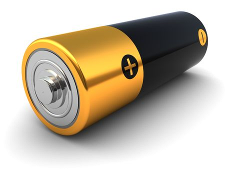 3d illustration of small battery closeup, over white background illustration
