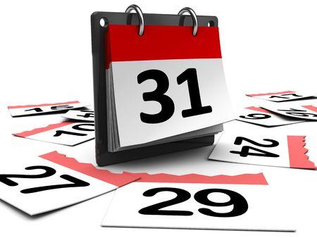 3D illustratie van dag kalender op witte achtergrond