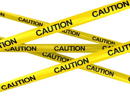 3d illustration of warning ribbons with caution text, isolated over white illustration