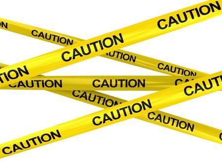 """3d ilustración de advertencia de cintas con """"cautela"""" el texto, aislado más de blanco"""