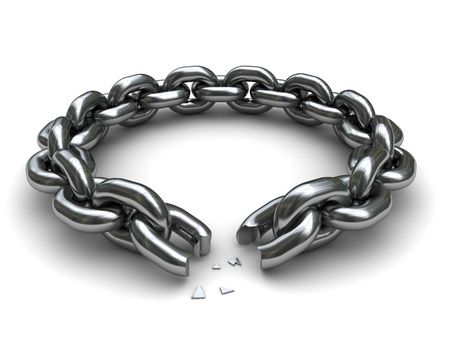 broken unity: 3d illustration of broken chain circle over white background