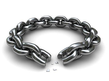broken link: illustrazione 3D della catena rotto cerchio su sfondo bianco Archivio Fotografico