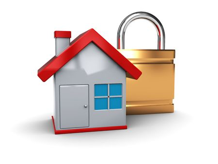 3d illustration of house and lock icon illustration