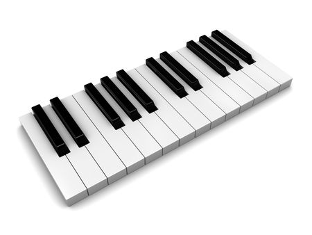 3d illustration of piaon keys over white background Stock Illustration - 6566234