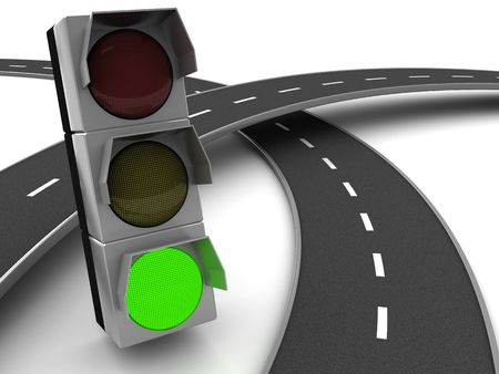 3d illustration of road knot cross and traffic light illustration