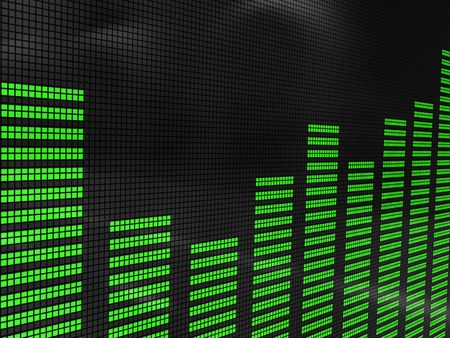 analyzer: abstract 3d illustration of sound spectrum analyzer display
