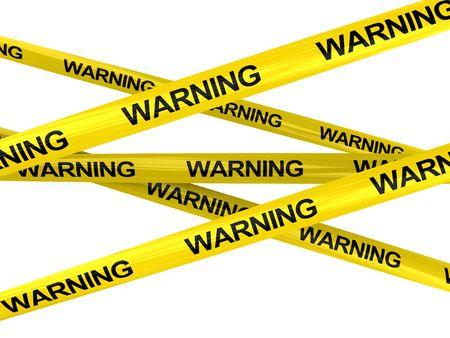 предупреждать: 3D иллюстрации предупреждения ленты