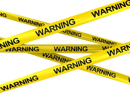 yellow ribbon: 3d illustration of of warning ribbons
