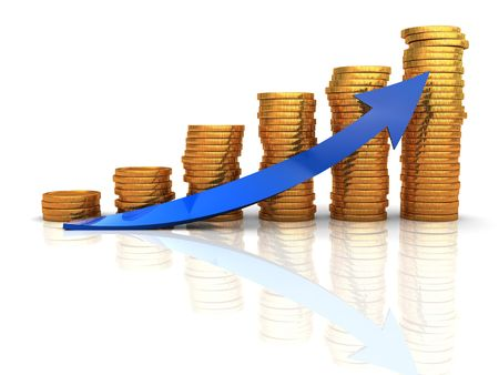 3d illustration of raising coins charts with arrow Stock Illustration - 6566248
