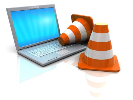 3d illustration of laptop computer and traffic cones illustration